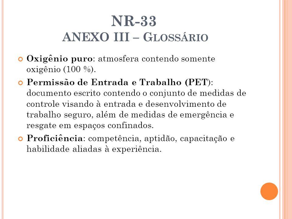 NR-33 ANEXO III – G LOSSÁRIO Oxigênio puro : atmosfera contendo somente oxigênio (100 %). Permissão de Entrada e Trabalho (PET ): documento escrito co