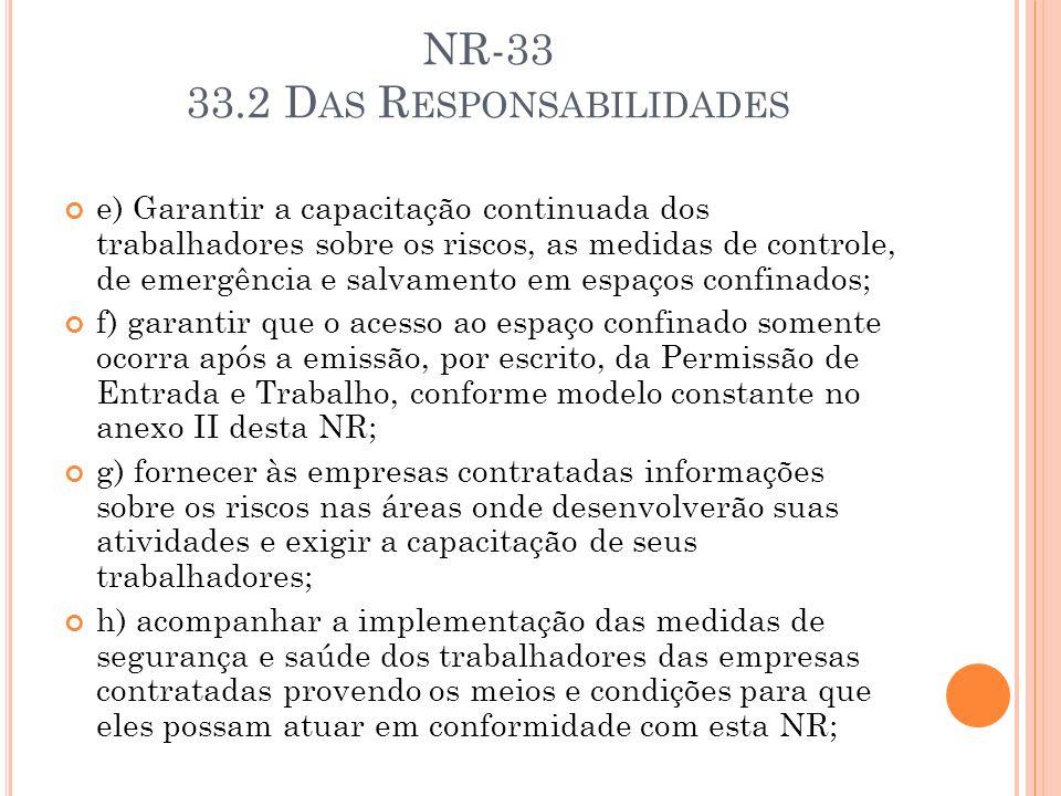 NR-33 33.2 D AS R ESPONSABILIDADES e) Garantir a capacitação continuada dos trabalhadores sobre os riscos, as medidas de controle, de emergência e sal