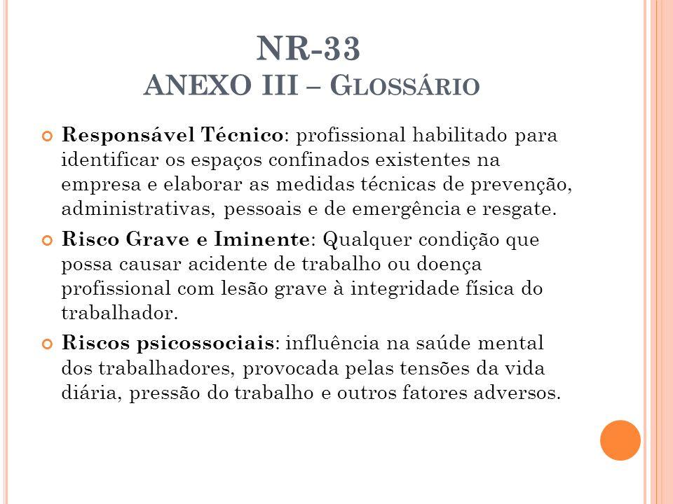NR-33 ANEXO III – G LOSSÁRIO Responsável Técnico : profissional habilitado para identificar os espaços confinados existentes na empresa e elaborar as