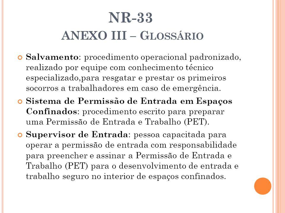 NR-33 ANEXO III – G LOSSÁRIO Salvamento : procedimento operacional padronizado, realizado por equipe com conhecimento técnico especializado,para resga