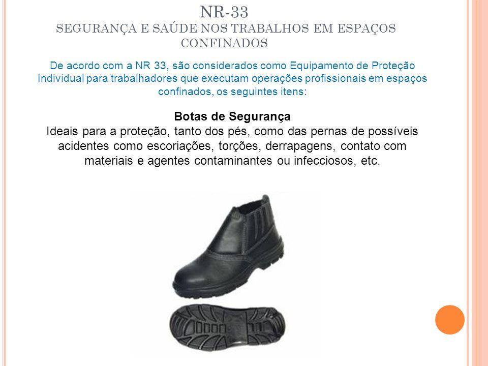 NR-33 SEGURANÇA E SAÚDE NOS TRABALHOS EM ESPAÇOS CONFINADOS De acordo com a NR 33, são considerados como Equipamento de Proteção Individual para traba