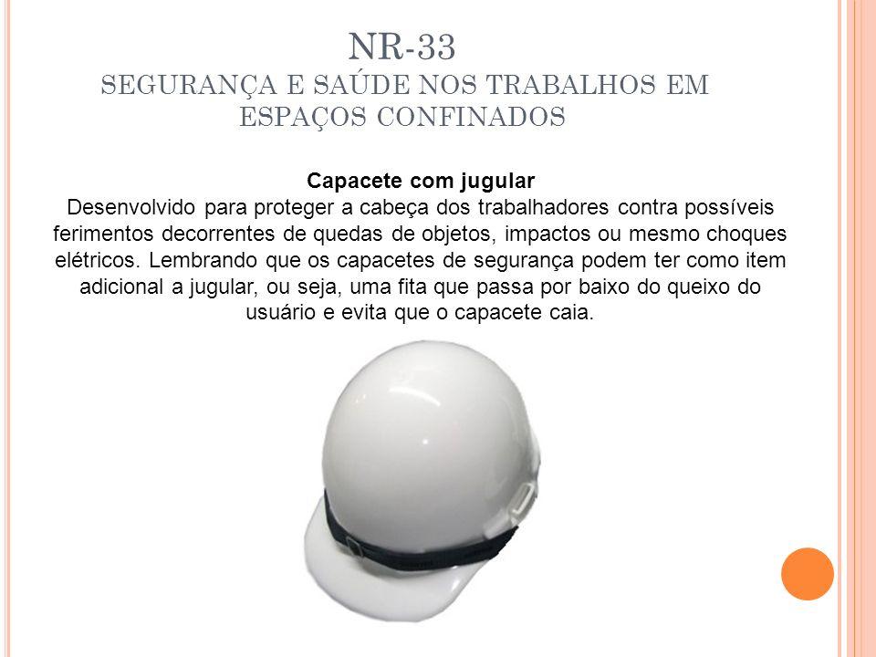 NR-33 SEGURANÇA E SAÚDE NOS TRABALHOS EM ESPAÇOS CONFINADOS Capacete com jugular Desenvolvido para proteger a cabeça dos trabalhadores contra possívei