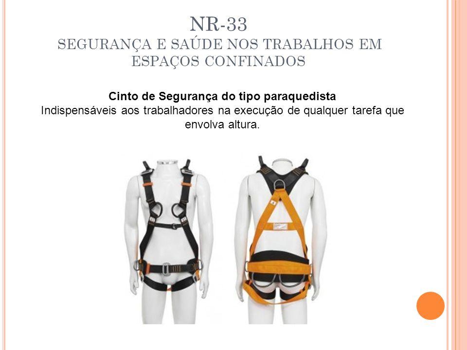 NR-33 SEGURANÇA E SAÚDE NOS TRABALHOS EM ESPAÇOS CONFINADOS Cinto de Segurança do tipo paraquedista Indispensáveis aos trabalhadores na execução de qu