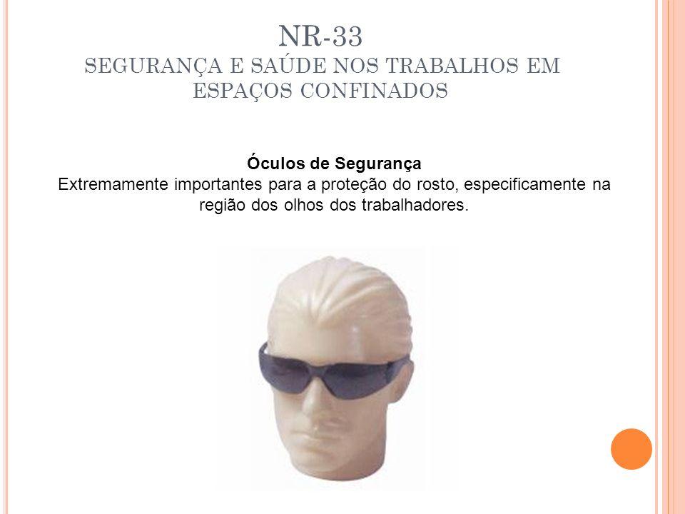 NR-33 SEGURANÇA E SAÚDE NOS TRABALHOS EM ESPAÇOS CONFINADOS Óculos de Segurança Extremamente importantes para a proteção do rosto, especificamente na
