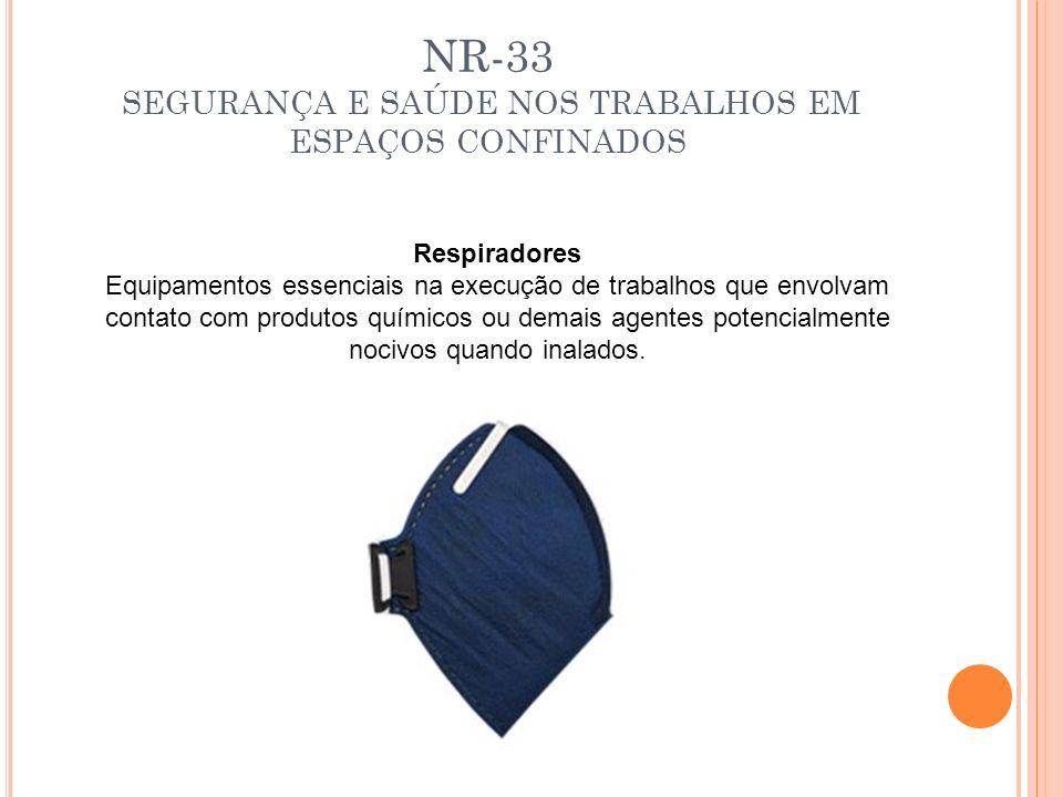 NR-33 SEGURANÇA E SAÚDE NOS TRABALHOS EM ESPAÇOS CONFINADOS Respiradores Equipamentos essenciais na execução de trabalhos que envolvam contato com pro