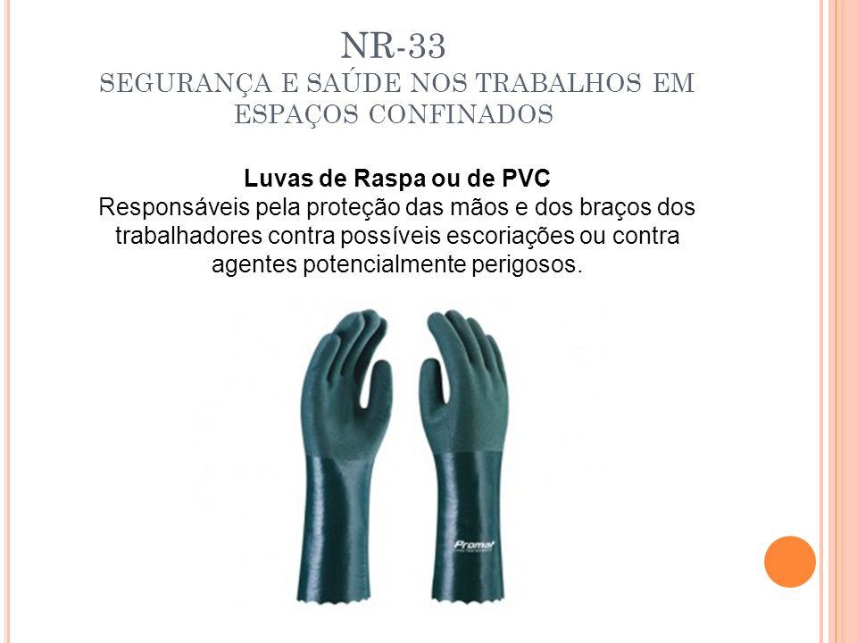 NR-33 SEGURANÇA E SAÚDE NOS TRABALHOS EM ESPAÇOS CONFINADOS Luvas de Raspa ou de PVC Responsáveis pela proteção das mãos e dos braços dos trabalhadore