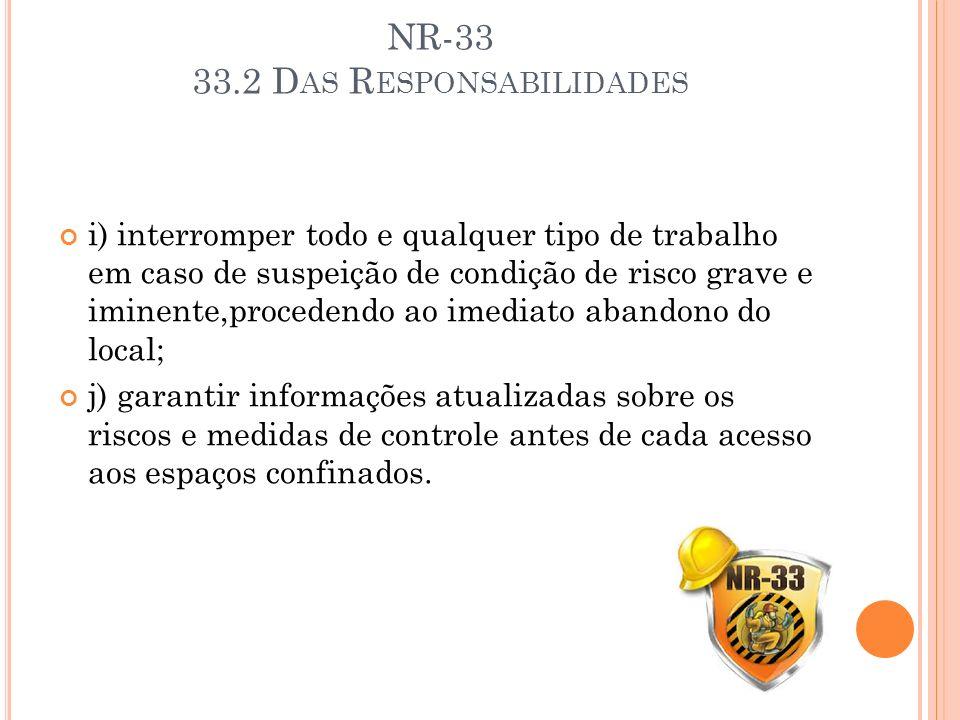 NR-33 33.2 D AS R ESPONSABILIDADES i) interromper todo e qualquer tipo de trabalho em caso de suspeição de condição de risco grave e iminente,proceden