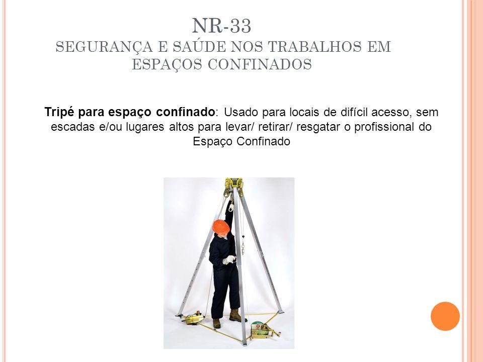 NR-33 SEGURANÇA E SAÚDE NOS TRABALHOS EM ESPAÇOS CONFINADOS Tripé para espaço confinado : Usado para locais de difícil acesso, sem escadas e/ou lugare