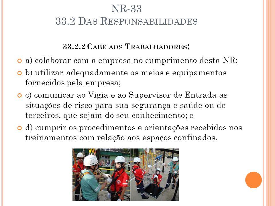 NR-33 33.2 D AS R ESPONSABILIDADES 33.2.2 C ABE AOS T RABALHADORES : a) colaborar com a empresa no cumprimento desta NR; b) utilizar adequadamente os