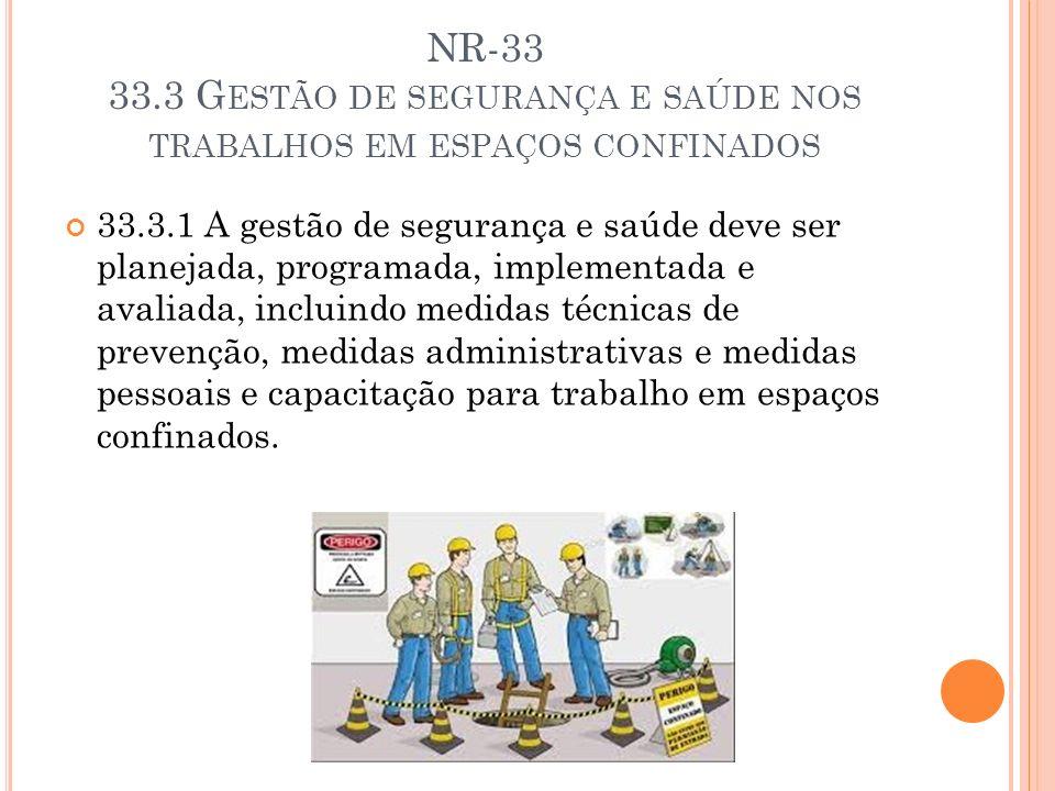NR-33 33.3 G ESTÃO DE SEGURANÇA E SAÚDE NOS TRABALHOS EM ESPAÇOS CONFINADOS 33.3.1 A gestão de segurança e saúde deve ser planejada, programada, imple