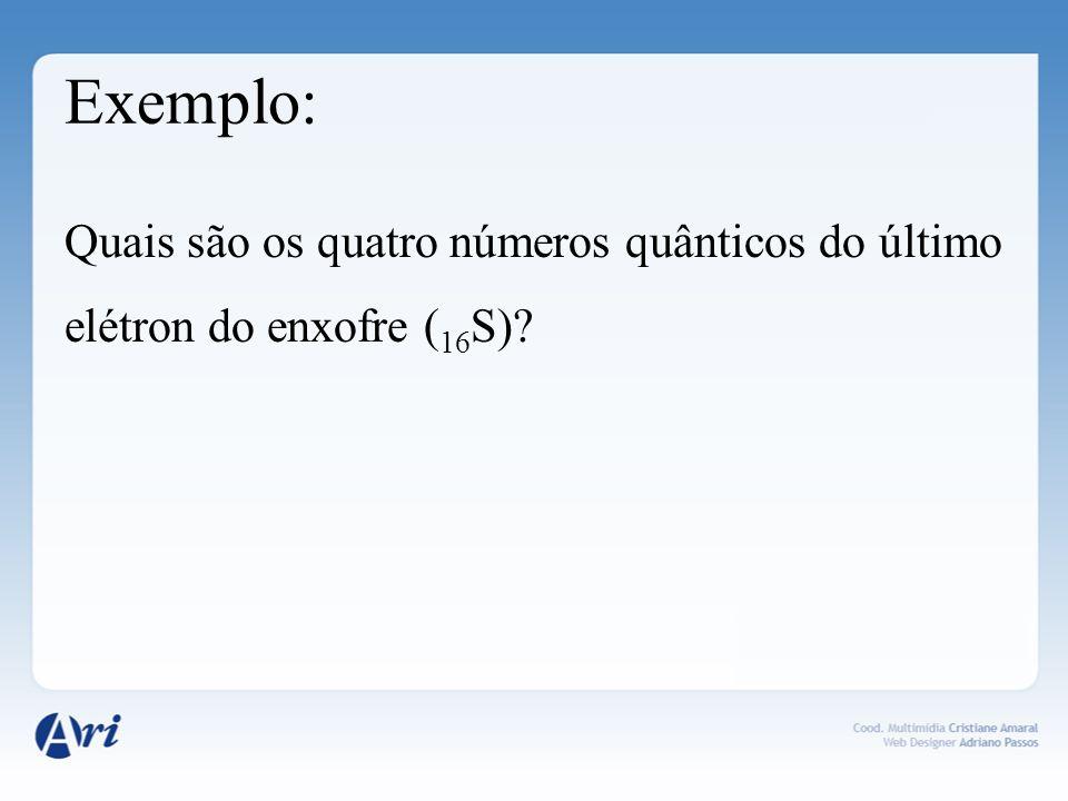 Exemplo: Quais são os quatro números quânticos do último elétron do enxofre ( 16 S)?