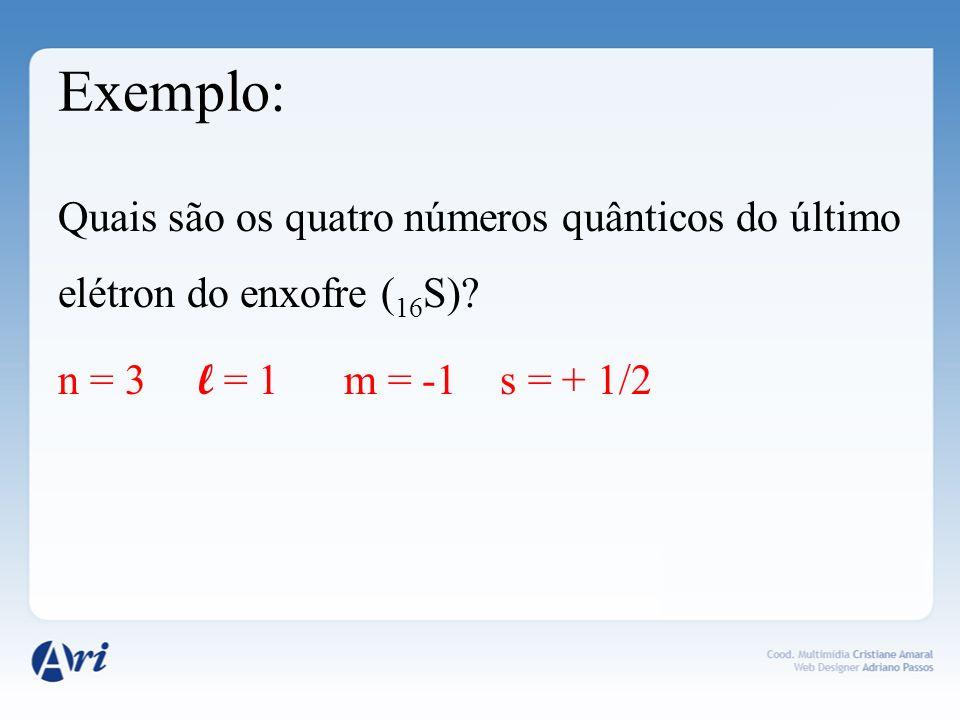 Exemplo: Quais são os quatro números quânticos do último elétron do enxofre ( 16 S)? n = 3 l = 1 m = -1 s = + 1/2
