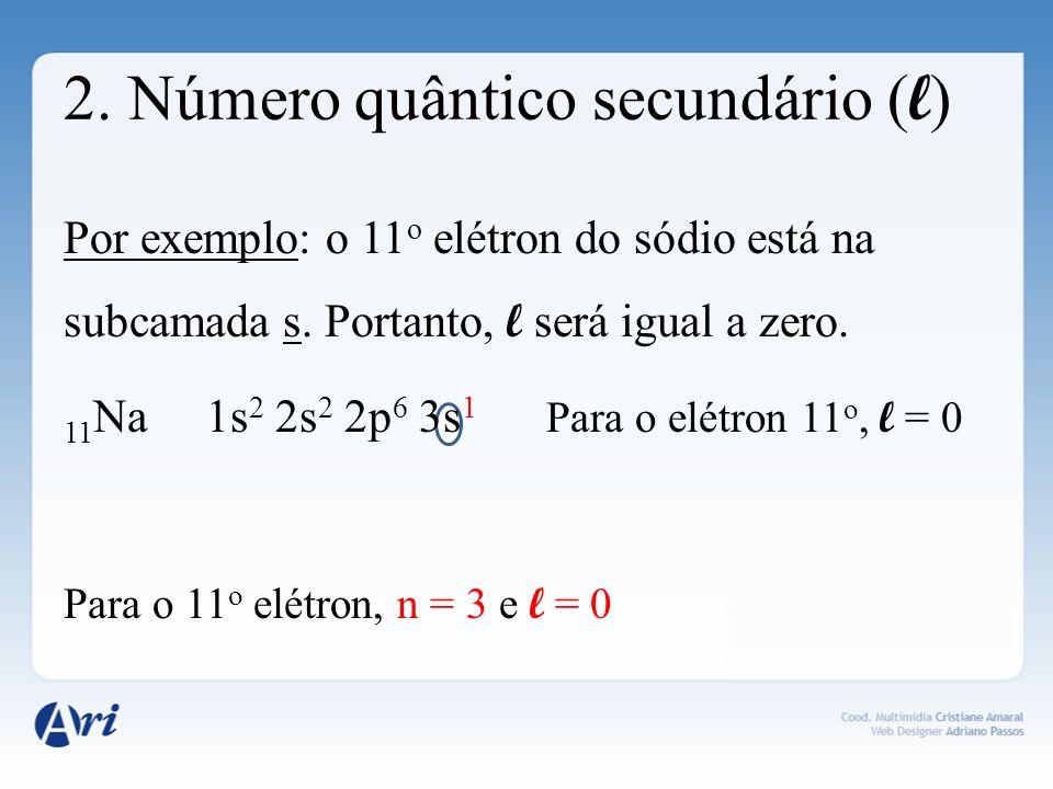 2. Número quântico secundário ( l ) Por exemplo: o 11 o elétron do sódio está na subcamada s. Portanto, l será igual a zero. 11 Na 1s 2 2s 2 2p 6 3s 1