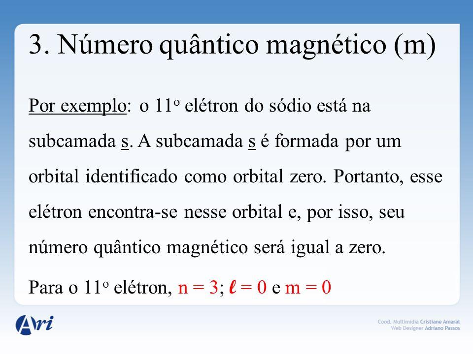 3. Número quântico magnético (m) Por exemplo: o 11 o elétron do sódio está na subcamada s. A subcamada s é formada por um orbital identificado como or