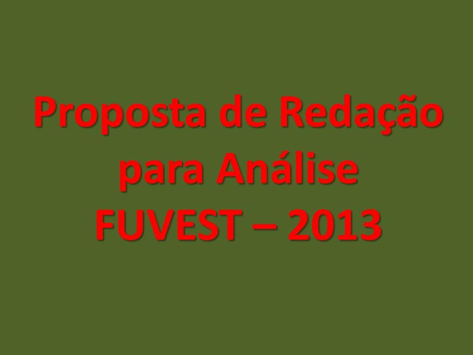 Proposta de Redação para Análise FUVEST – 2013