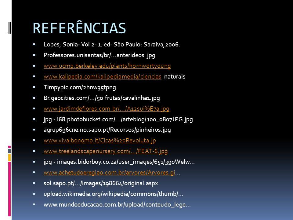 REFERÊNCIAS Lopes, Sonia- Vol 2- 1. ed- São Paulo: Saraiva,2006. Professores.unisantas/br/...anterideos jpg www.ucmp.berkeley.edu/plants/hornwortyoung