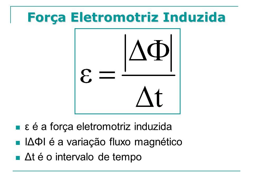 Força Eletromotriz Induzida ε é a força eletromotriz induzida IΔΦI é a variação fluxo magnético Δt é o intervalo de tempo