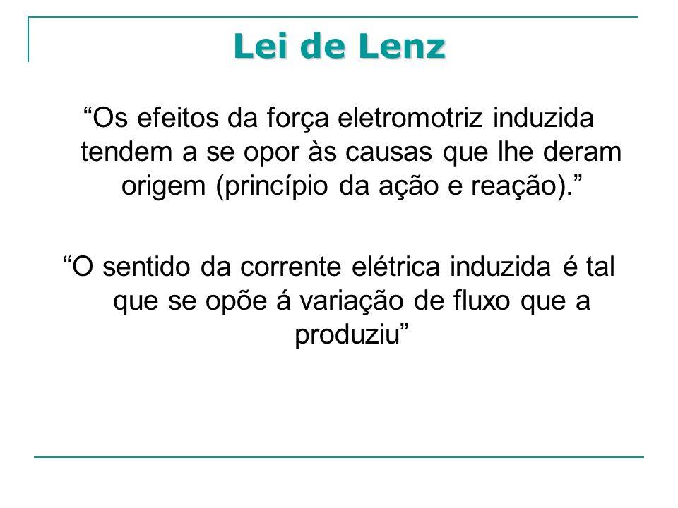 Os efeitos da força eletromotriz induzida tendem a se opor às causas que lhe deram origem (princípio da ação e reação). O sentido da corrente elétrica