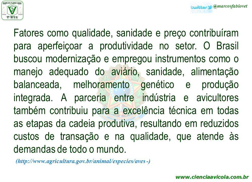 www.cienciaavicola.com.br @marcosfabiovet Fatores como qualidade, sanidade e preço contribuíram para aperfeiçoar a produtividade no setor. O Brasil bu