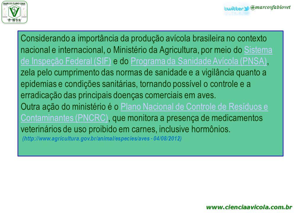 www.cienciaavicola.com.br @marcosfabiovet Considerando a importância da produção avícola brasileira no contexto nacional e internacional, o Ministério