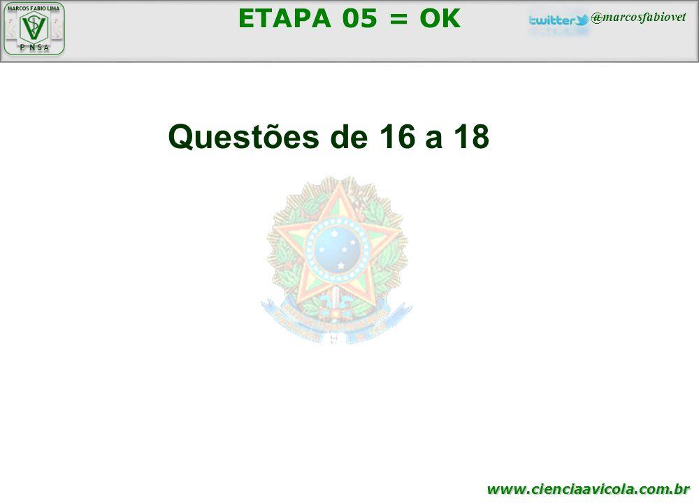 www.cienciaavicola.com.br ETAPA 05 = OK Questões de 16 a 18