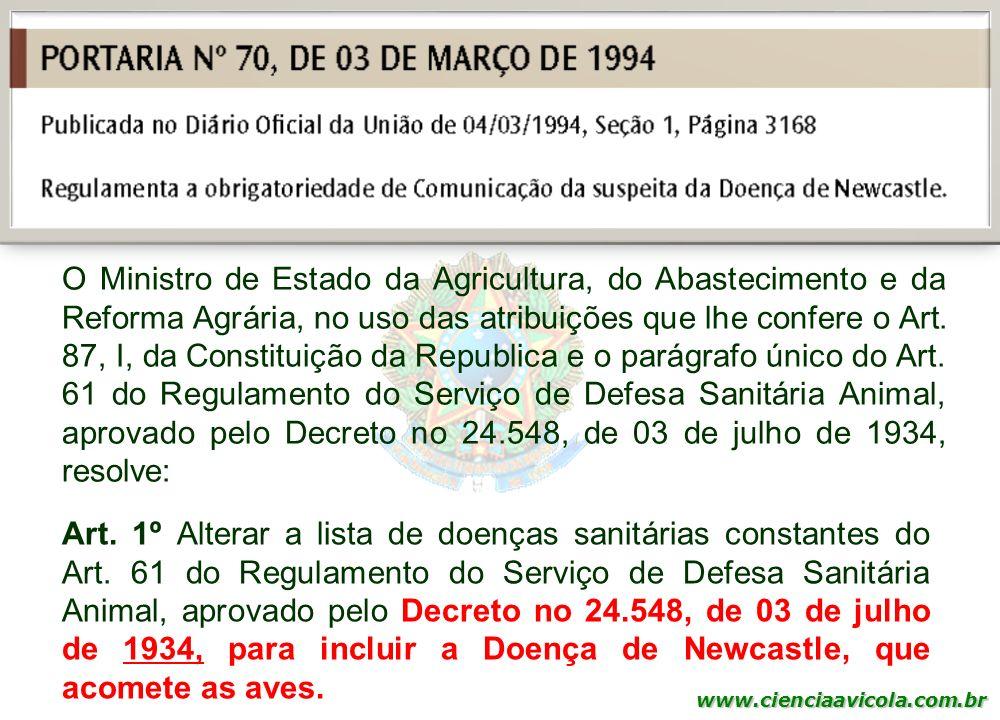 www.cienciaavicola.com.br @marcosfabiovet O Ministro de Estado da Agricultura, do Abastecimento e da Reforma Agrária, no uso das atribuições que lhe c