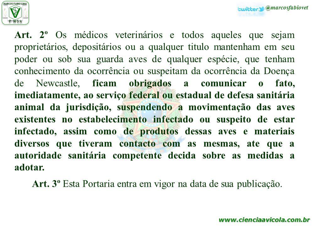 www.cienciaavicola.com.br @marcosfabiovet Art. 2º Os médicos veterinários e todos aqueles que sejam proprietários, depositários ou a qualquer titulo m