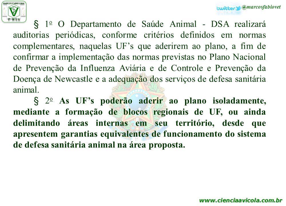 www.cienciaavicola.com.br @marcosfabiovet § 1 o O Departamento de Saúde Animal - DSA realizará auditorias periódicas, conforme critérios definidos em