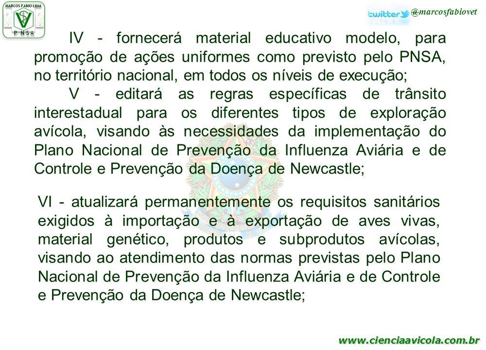 www.cienciaavicola.com.br @marcosfabiovet IV - fornecerá material educativo modelo, para promoção de ações uniformes como previsto pelo PNSA, no terri