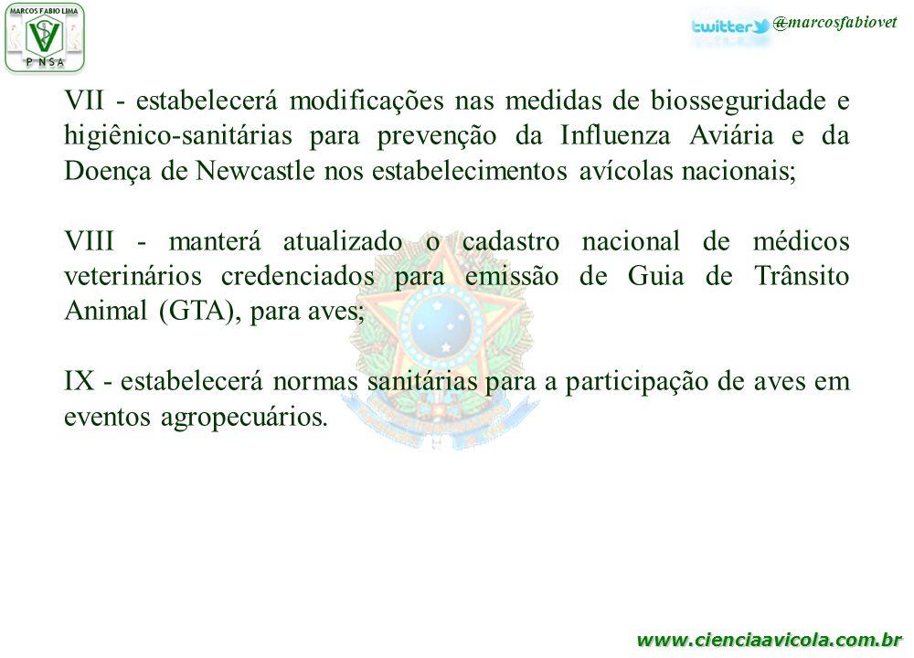 www.cienciaavicola.com.br @marcosfabiovet VII - estabelecerá modificações nas medidas de biosseguridade e higiênico-sanitárias para prevenção da Influ