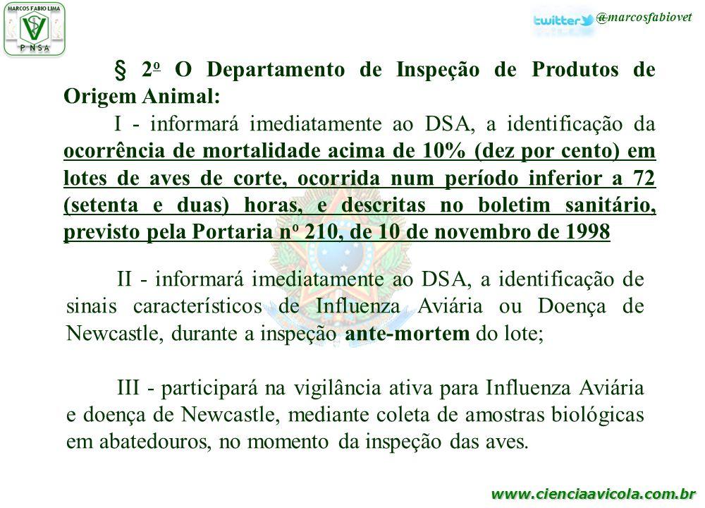 www.cienciaavicola.com.br @marcosfabiovet § 2 o O Departamento de Inspeção de Produtos de Origem Animal: I - informará imediatamente ao DSA, a identif