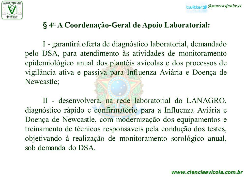 www.cienciaavicola.com.br @marcosfabiovet § 4 o A Coordenação-Geral de Apoio Laboratorial: I - garantirá oferta de diagnóstico laboratorial, demandado