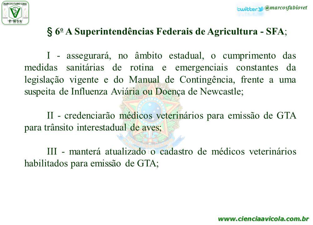www.cienciaavicola.com.br @marcosfabiovet § 6 o A Superintendências Federais de Agricultura - SFA; I - assegurará, no âmbito estadual, o cumprimento d