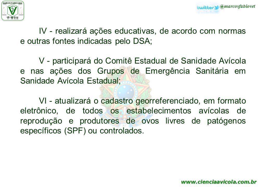 www.cienciaavicola.com.br @marcosfabiovet IV - realizará ações educativas, de acordo com normas e outras fontes indicadas pelo DSA; V - participará do