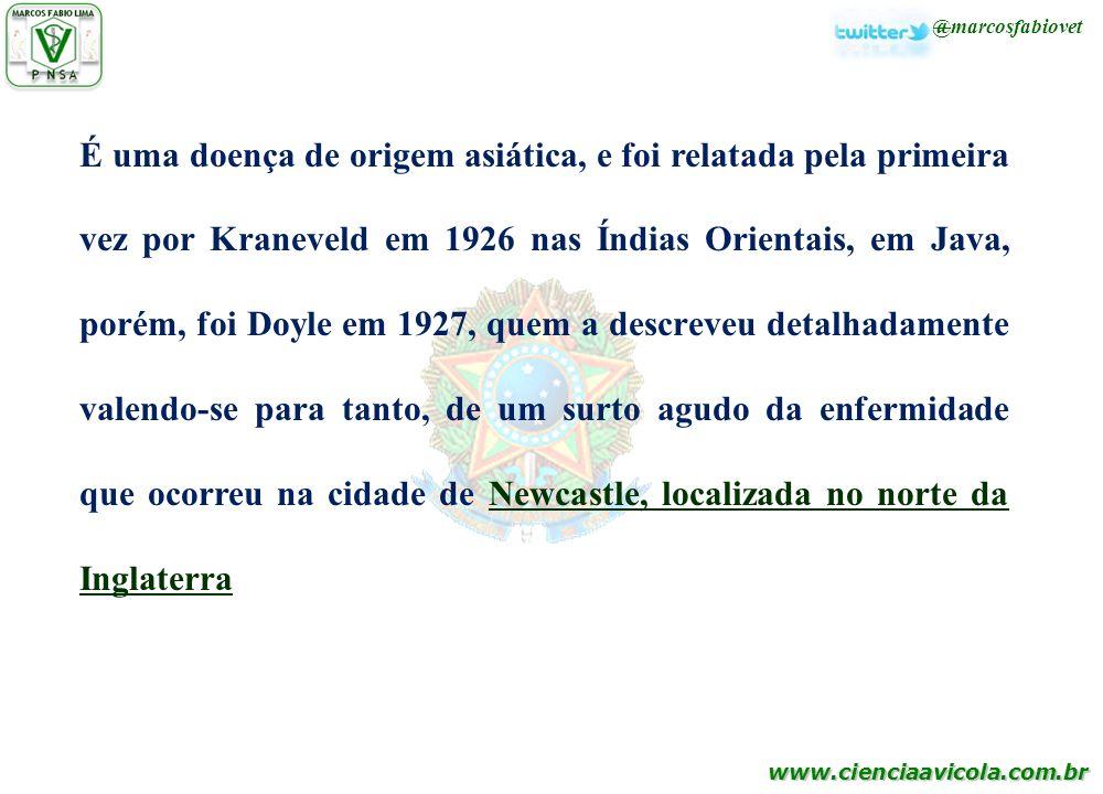 www.cienciaavicola.com.br É uma doença de origem asiática, e foi relatada pela primeira vez por Kraneveld em 1926 nas Índias Orientais, em Java, porém