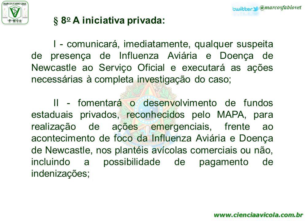 www.cienciaavicola.com.br @marcosfabiovet § 8 o A iniciativa privada: I - comunicará, imediatamente, qualquer suspeita de presença de Influenza Aviári