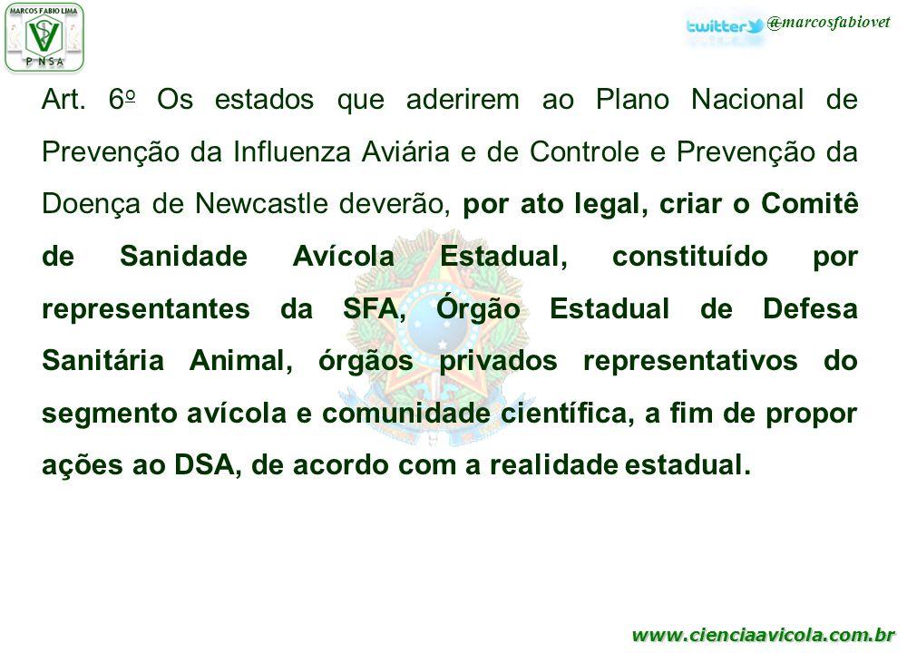 www.cienciaavicola.com.br @marcosfabiovet Art. 6 o Os estados que aderirem ao Plano Nacional de Prevenção da Influenza Aviária e de Controle e Prevenç
