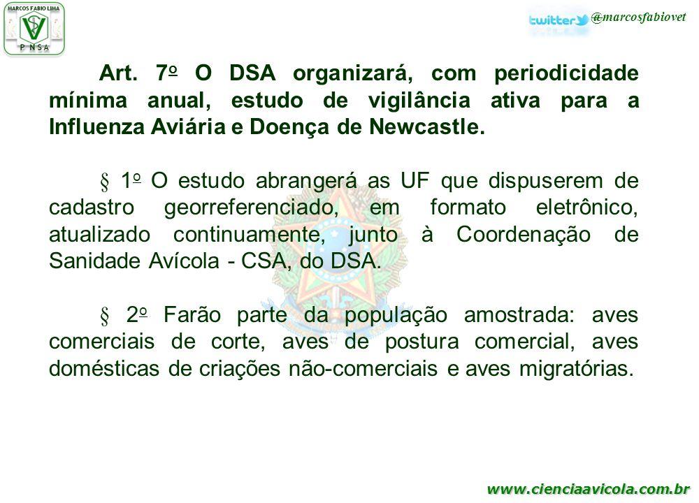 www.cienciaavicola.com.br @marcosfabiovet Art. 7 o O DSA organizará, com periodicidade mínima anual, estudo de vigilância ativa para a Influenza Aviár
