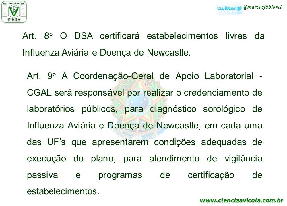 www.cienciaavicola.com.br @marcosfabiovet Art. 8 o O DSA certificará estabelecimentos livres da Influenza Aviária e Doença de Newcastle. Art. 9 o A Co