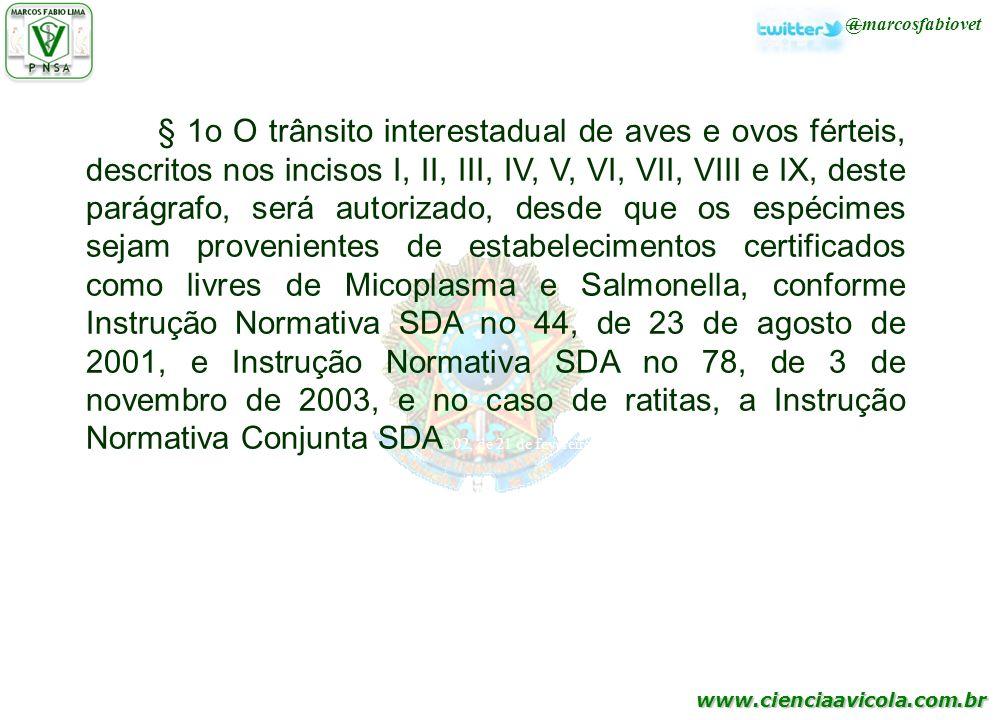 www.cienciaavicola.com.br @marcosfabiovet § 1o O trânsito interestadual de aves e ovos férteis, descritos nos incisos I, II, III, IV, V, VI, VII, VIII