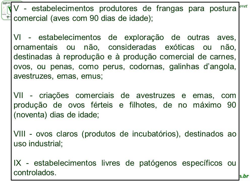 www.cienciaavicola.com.br @marcosfabiovet V - estabelecimentos produtores de frangas para postura comercial (aves com 90 dias de idade); VI - estabele