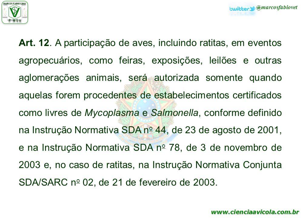 www.cienciaavicola.com.br @marcosfabiovet Art. 12. A participação de aves, incluindo ratitas, em eventos agropecuários, como feiras, exposições, leilõ