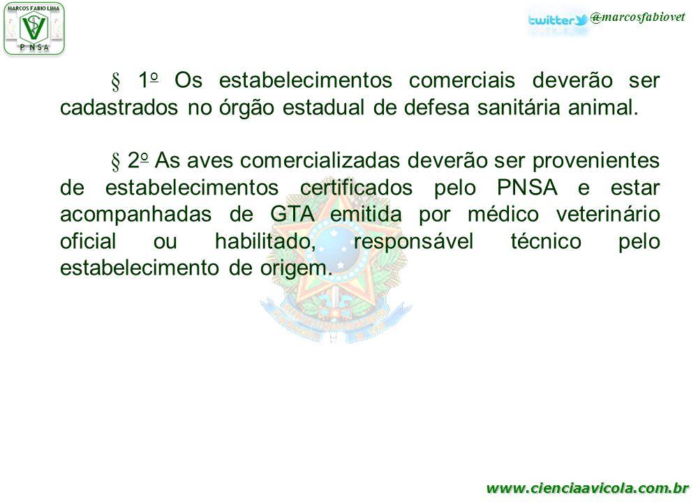 www.cienciaavicola.com.br @marcosfabiovet § 1 o Os estabelecimentos comerciais deverão ser cadastrados no órgão estadual de defesa sanitária animal. §