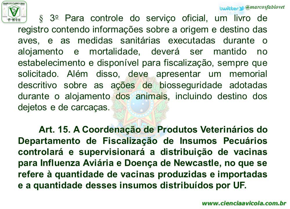 www.cienciaavicola.com.br @marcosfabiovet § 3 o Para controle do serviço oficial, um livro de registro contendo informações sobre a origem e destino d