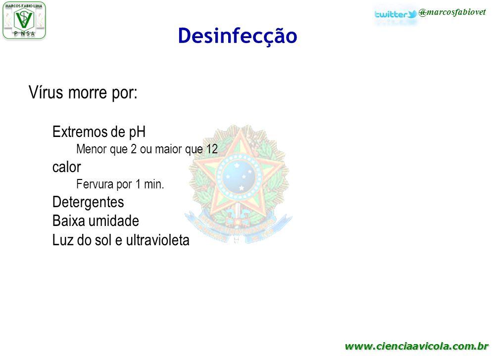 www.cienciaavicola.com.br @marcosfabiovet Desinfecção Vírus morre por: Extremos de pH Menor que 2 ou maior que 12 calor Fervura por 1 min. Detergentes