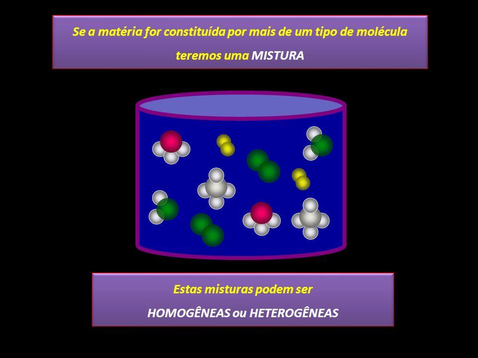 Se a matéria for constituída por mais de um tipo de molécula teremos uma MISTURA Estas misturas podem ser HOMOGÊNEAS ou HETEROGÊNEAS Estas misturas po