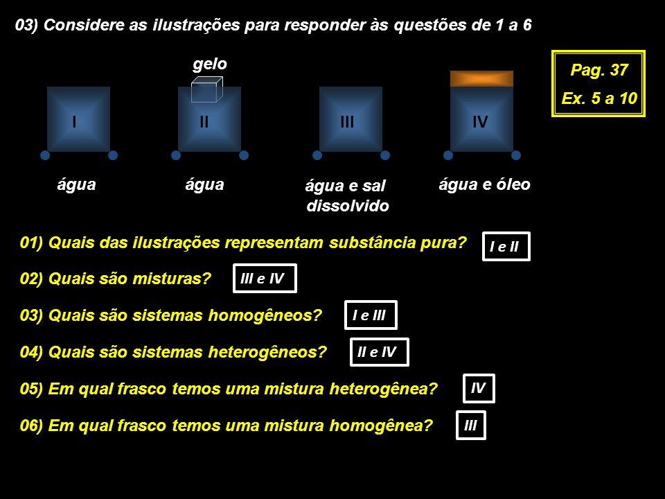 03) Considere as ilustrações para responder às questões de 1 a 6 Pag. 37 Ex. 5 a 10 água gelo água e sal dissolvido água e óleo 01) Quais das ilustraç
