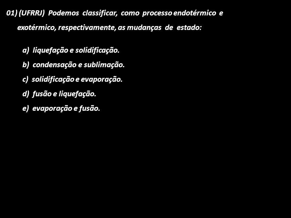 01) (UFRRJ) Podemos classificar, como processo endotérmico e exotérmico, respectivamente, as mudanças de estado: a) liquefação e solidificação. b) con