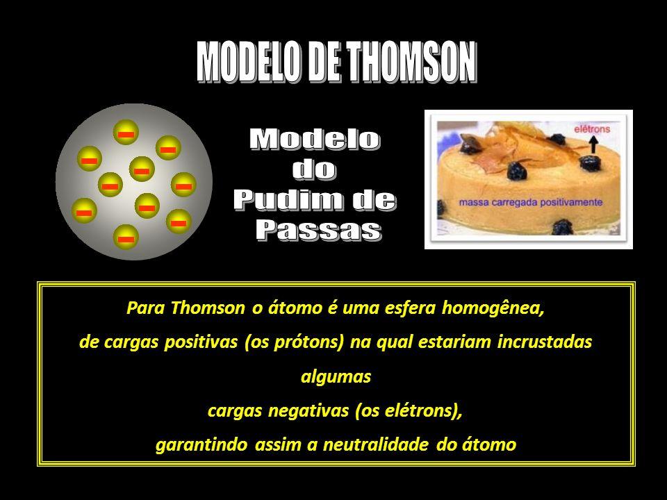Para Thomson o átomo é uma esfera homogênea, de cargas positivas (os prótons) na qual estariam incrustadas algumas cargas negativas (os elétrons), gar