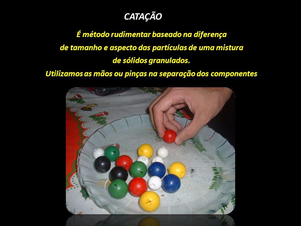 CATAÇÃO É método rudimentar baseado na diferença de tamanho e aspecto das partículas de uma mistura de sólidos granulados. Utilizamos as mãos ou pinça